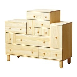 "IKEA PS 2012 chest and add-on unit, pine Width: 51 1/8 "" Depth: 18 7/8 "" Min. height: 42 7/8 "" Width: 130 cm Depth: 48 cm Min. height: 109 cm"