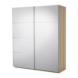 PAX wardrobe with sliding doors, Auli mirror glass, white stained oak Width: 200.0 cm Depth: 66.0 cm Height: 236.4 cm