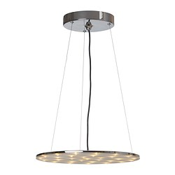 "KLOR LED pendant lamp, nickel plated Diameter: 16 "" Height: 54 "" Cord length: 4 ' 3 "" Diameter: 40 cm Height: 138 cm Cord length: 1.3 m"