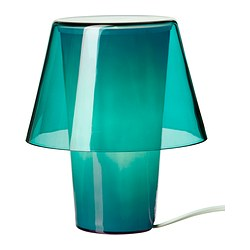 GAVIK table lamp, frosted glass, blue Diameter: 18 cm Height: 21 cm Cord length: 185 cm