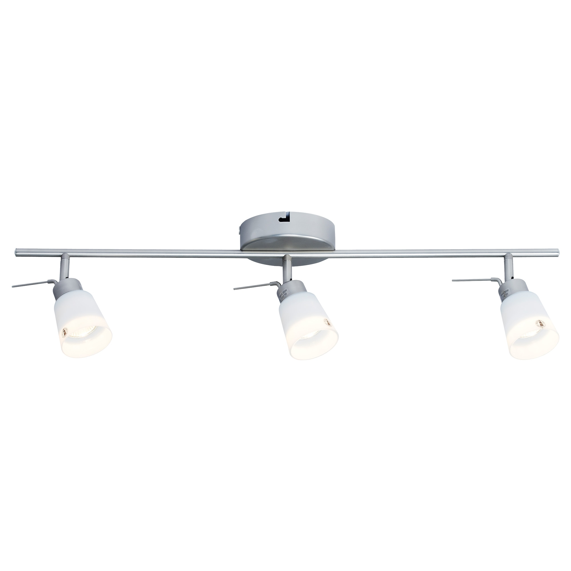 BASISK ceiling track, 3 spotlights, nickel plated, white Max.: 35 W