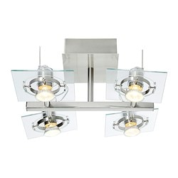 FUGA ceiling spotlight with 4 spots, clear glass, chrome-plated Length: 35 cm Width: 35 cm Height: 18 cm