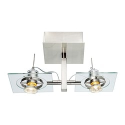 "FUGA ceiling/wall lamp, clear glass, chrome plated Length: 15 "" Depth: 7 "" Height: 7 "" Length: 37 cm Depth: 19 cm Height: 18.5 cm"