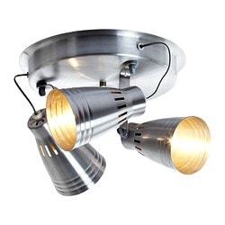 KRÄMARE ceiling spotlight with 3 spots, aluminium Diameter: 30 cm Height: 24 cm