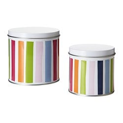 NIDELVA storage tin with lid, set of 2, multicolor, striped