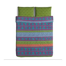 LAPPLJUNG quilt cover and 2 pillowcases, multicolour Quilt cover length: 230 cm Quilt cover width: 200 cm Pillowcase length: 50 cm