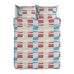 LAPPLJUNG RAND quilt cover and 2 pillowcases, multicolour Quilt cover length: 230 cm Quilt cover width: 200 cm Pillowcase length: 50 cm