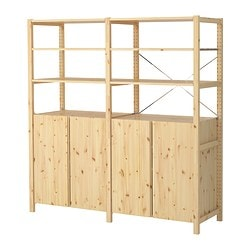 "IVAR 2 section shelving unit w/cabinet, pine Width: 68 1/2 "" Depth: 19 5/8 "" Height: 70 1/2 "" Width: 174 cm Depth: 50 cm Height: 179 cm"