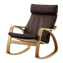 POÄNG rocking-chair, Robust dark brown, oak veneer Width: 68 cm Depth: 94 cm Height: 95 cm