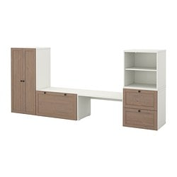 STUVA storage combination with bench, grey-brown Width: 300 cm Depth: 50 cm Height: 128 cm