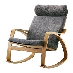 POÄNG rocking-chair, Lockarp grey, oak veneer Width: 68 cm Depth: 94 cm Height: 95 cm