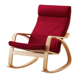 POÄNG rocking-chair, Dansbo medium red, birch veneer Width: 68 cm Depth: 94 cm Height: 95 cm
