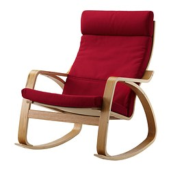 POÄNG rocking-chair, Dansbo medium red, oak veneer Width: 68 cm Depth: 94 cm Height: 95 cm