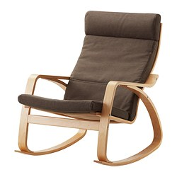 POÄNG rocking-chair, Dansbo medium brown, birch veneer Width: 68 cm Depth: 94 cm Height: 95 cm