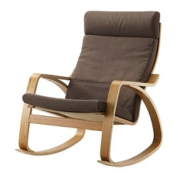 POÄNG rocking-chair, Dansbo medium brown, oak veneer Width: 68 cm Depth: 94 cm Height: 95 cm