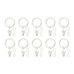 "SYRLIG curtain ring with clip and hook, white Diameter: 1 "" Max. load: 7 lb Package quantity: 10 pack Diameter: 25 mm Max. load: 3 kg Package quantity: 10 pack"