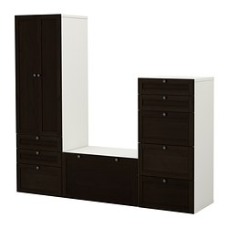 STUVA storage combination, black-brown Width: 210 cm Depth: 50 cm Height: 192 cm