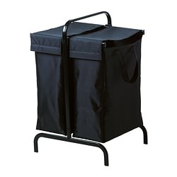 MULIG laundry bag with stand, black Width: 40 cm Depth: 46 cm Height: 70 cm