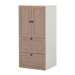 STUVA storage combination w doors/drawers, grey-brown Width: 60 cm Depth: 50 cm Height: 128 cm