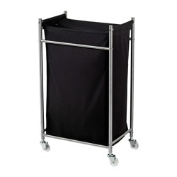 GRUNDTAL laundry bag with castors, black, stainless steel Width: 29 cm Depth: 45 cm Height: 77 cm