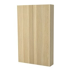 GODMORGON wall cabinet with 2 doors, white stained oak Width: 60 cm Depth: 14 cm Height: 96 cm