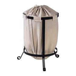 PORTIS laundry bin, beige, round dark grey Diameter: 56 cm Height: 59 cm Volume: 51 l