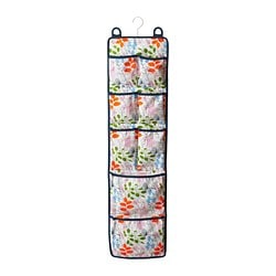 NOTUDDEN door-mounted storage, multicolour, flowers and leaves Width: 26.5 cm Height: 105 cm
