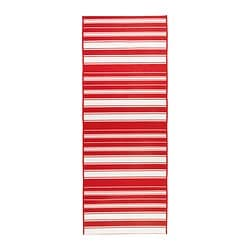 ALSLEV rug, flatwoven, red/white Length: 200 cm Width: 80 cm Surface density: 1548 g/m²