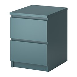 MALM chest of 2 drawers, grey-turquoise Width: 40 cm Depth: 48 cm Height: 55 cm