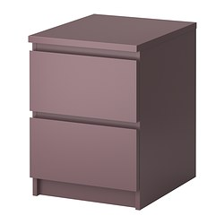 MALM chest of 2 drawers, lilac Width: 40 cm Depth: 48 cm Height: 55 cm
