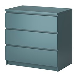 MALM chest of 3 drawers, grey-turquoise Width: 80 cm Depth: 48 cm Height: 78 cm