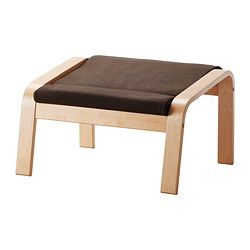 POÄNG footstool cushion, Dansbo medium brown Length: 53 cm Width: 60 cm Thickness: 7 cm