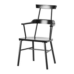 "IKEA PS 2012 chair with armrests, high back, black Width: 22 7/8 "" Depth: 22 7/8 "" Height: 38 1/4 "" Width: 58 cm Depth: 58 cm Height: 97 cm"