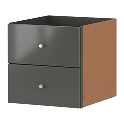 EXPEDIT insert with 2 drawers, high-gloss grey Width: 33 cm Depth: 37 cm Height: 33 cm