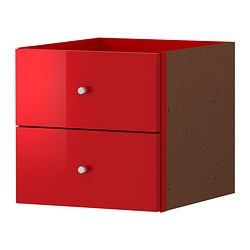 "EXPEDIT insert with 2 drawers, high gloss red Width: 13 "" Depth: 14 5/8 "" Height: 13 "" Width: 33 cm Depth: 37 cm Height: 33 cm"