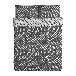 STENKLÖVER quilt cover and 2 pillowcases, grey, white Quilt cover length: 230 cm Quilt cover width: 200 cm Pillowcase length: 50 cm