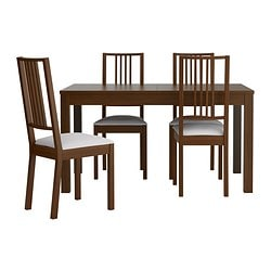 BJURSTA /  BÖRJE table and 4 chairs, Gobo white, brown Length: 180 cm Min. length: 140 cm Max. length: 220 cm
