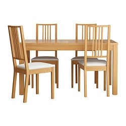 BJURSTA /  BÖRJE table and 4 chairs, oak veneer, Gobo white Length: 180 cm Min. length: 140 cm Max. length: 220 cm