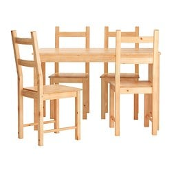 "INGO / IVAR table and 4 chairs, pine Length: 47 1/4 "" Width: 29 1/2 "" Height: 28 3/4 "" Length: 120 cm Width: 75 cm Height: 73 cm"