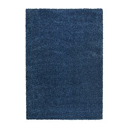 "ALHEDE rug, high pile, blue Length: 7 ' 10 "" Width: 5 ' 3 "" Surface density: 12 oz/sq ft Length: 240 cm Width: 160 cm Surface density: 3550 g/m²"