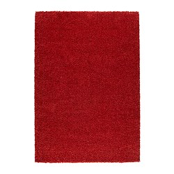 "ALHEDE rug, high pile, red Length: 6 ' 5 "" Width: 4 ' 4 "" Surface density: 12 oz/sq ft Length: 195 cm Width: 133 cm Surface density: 3550 g/m²"