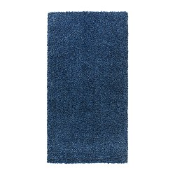 "ALHEDE rug, high pile, blue Length: 4 ' 11 "" Width: 2 ' 7 "" Surface density: 12 oz/sq ft Length: 150 cm Width: 80 cm Surface density: 3550 g/m²"