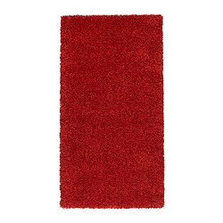 "ALHEDE rug, high pile, red Length: 4 ' 11 "" Width: 2 ' 7 "" Surface density: 12 oz/sq ft Length: 150 cm Width: 80 cm Surface density: 3550 g/m²"