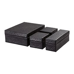 BLADIS box with lid, set of 4, black