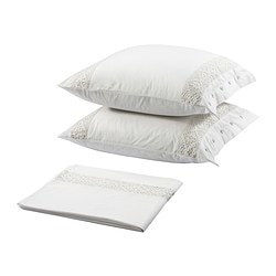 EMMIE SPETS top sheet and pillowcase(s), white Top sheet length: 280 cm Top sheet width: 240 cm Pillowcase length: 65 cm
