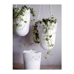 Skurar Hanging Planter Off White Indoor Outdoor