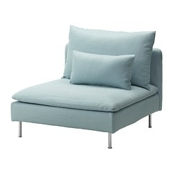 SÖDERHAMN one-seat section, Isefall light turquoise Width: 93 cm Depth: 99 cm Height: 83 cm