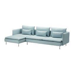 SÖDERHAMN three-seat sofa and chaise longue, Isefall light turquoise Width: 291 cm Min. depth: 99 cm Max. depth: 151 cm