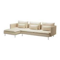 "SÖDERHAMN sofa and chaise, Isefall natural Width: 114 5/8 "" Min. depth: 39 "" Max. depth: 59 1/2 "" Width: 291 cm Min. depth: 99 cm Max. depth: 151 cm"
