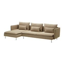 SÖDERHAMN three-seat sofa and chaise longue, Replösa beige Width: 291 cm Min. depth: 99 cm Max. depth: 151 cm
